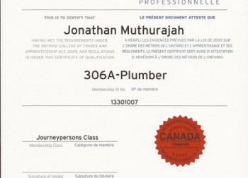 Member of Ontario College of Trades