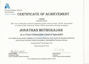 Certified Cross Connection Control Specialist